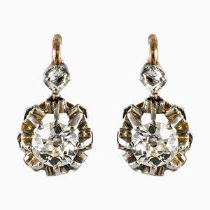 19th Century Diamond and 18 Karat Rose Gold Lever- Back Earrings, Set of 2