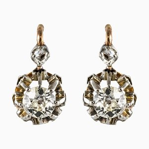 Ringförmige Ohrringe aus 18 Karat Roségold mit Lever-Rückhaken aus 19. Jhdt., 2er Set