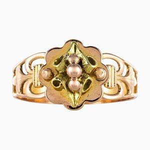 Französischer 18 Karat Rosé- und Gelbgold Versprechen Ring aus 19. Jahrhundert