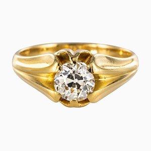 19th Century 0.80 Carat Diamond and 18 Karat Yellow Gold Bangle Ring