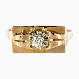 Diamond and 18 Karat Yellow Gold Tank Ring, 1940s