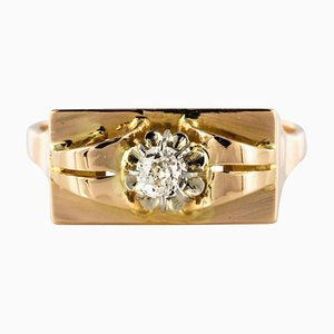 Ring aus 18 Karat Gelbgold in Diamanten-Optik, 1940er