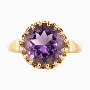 Französischer Gold Amethyst Ring, 1900er