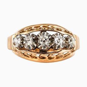 Diamond Gold Platin Kuppel Ring, 1950er