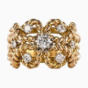 Rautenförmiger 18 Karat Ring in Gelbgold, 1960er