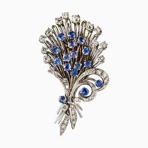 Französische Saphir, Diamant, Platin und Weißgold Bouquet Brosche, 1950er