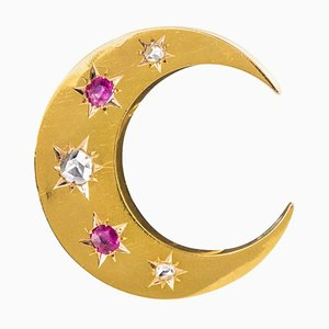 20th Century French Diamond, Ruby and 18 Karat Yellow Gold Moon Brooch