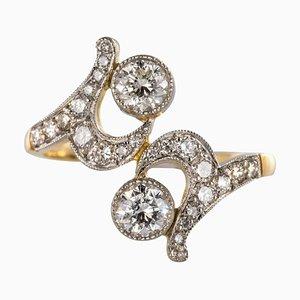 Französischer Diamond Platin Ring in Gold