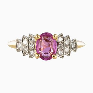 Pinker Saphir, Diamant, Gold und Platin Ring