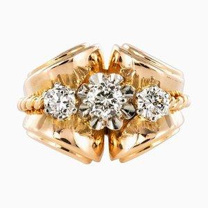 Französischer Diamant und Goldfarbener Tankring