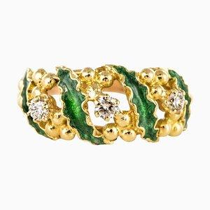 Ring aus Grüner Emaille mit Gold und Diamanten, 1980er