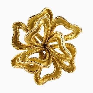 Broche en nudo francés de oro amarillo de 18 quilates, años 50