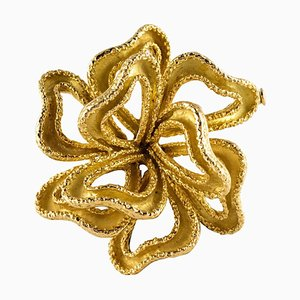 French 18 Karat Yellow Gold Knot Brooch, 1950s
