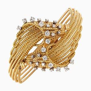 Französische Armlehnbänder aus Diamant, Platin und 18 Karat Gelbgold, 1950er