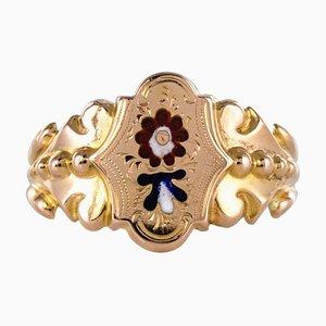 Französischer Emaille Ring aus 18 Karat Roségold, 19. Jh