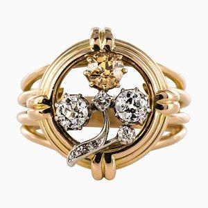 Diamond and 18 Karat Yellow Gold Clover Ring, 1940s