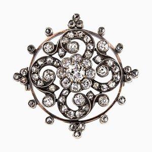 Antike Roségold Brosche in Diamanten- und Silber-Optik
