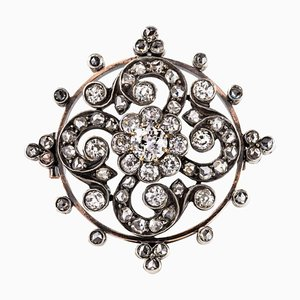 Antique Diamond and Silver Rose Gold Brooch