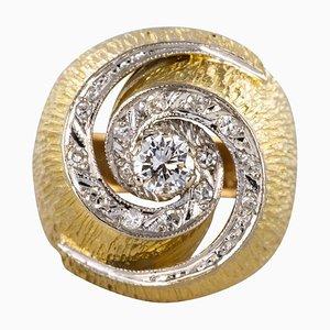 Diamond and 18 Karat Yellow Gold Swirl Ring, 1950s