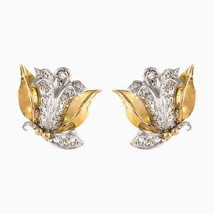 Diamond and 18 Karat Yellow White Gold Flower Shape Earrings, 1950s, Set of 2