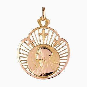 Französische 18 Karat Roségold Haloed Jungfrau Medaille, 19. Jh