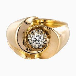 French 0.13 Carat Diamond and 18 Karat Yellow Gold Ring, 1950s