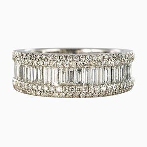 1.28 Carat Baguette Diamond and 18 Karat White Gold Band Ring