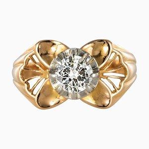 Französischer 0,83 Karat Diamant Roségoldener Ring, 1960er
