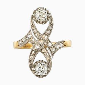 Französischer Platin und Gold Diamantring, 1900er
