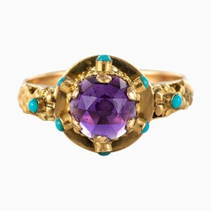 20th Century Amethyst Turquoise and 20 Karat Yellow Gold Ring