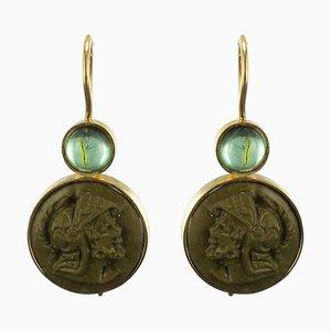Lava Stone Gold Drop Earrings, Set of 2