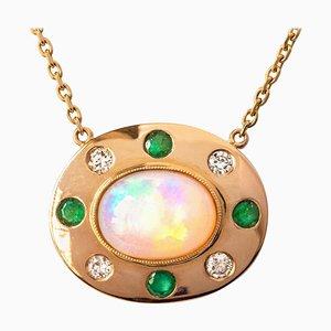 Collana in oro giallo opalino, smeraldo, diamanti e 18 carati