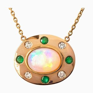 Opal, Emerald, Diamond and 18 Karat Yellow Gold Necklace