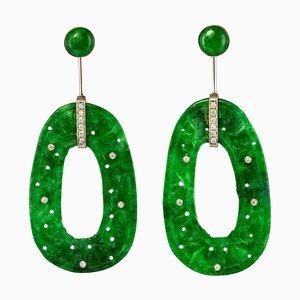 Jade Diamond and 18 Karat White Gold Dangle Earrings, Set of 2