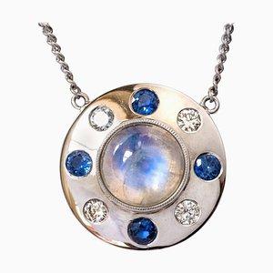 Mondstein Saphir, Diamanten und 18 Karat Weißgold Halskette