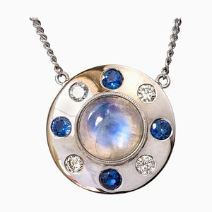 Moonstone Sapphire, Diamonds and 18 Karat White Gold Necklace