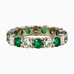 Emerald, Diamond and Gold Eternity Ring