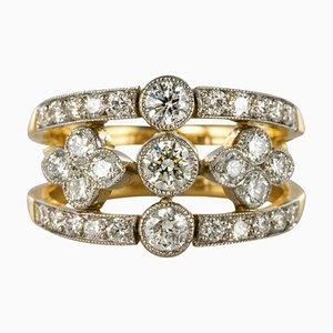 Französischer Ring aus Platin mit Diamanten in Diamanten-Optik
