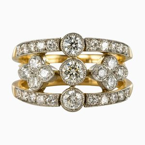 French Diamond and Gold Platinum Band Ring