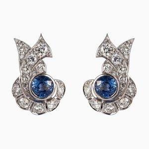 Französische Saphir und Diamant Ohrringe, 2er Set