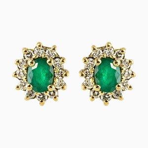 Emerald, Diamond and 18 Karat Yellow Gold Daisy Earrings, Set of 2