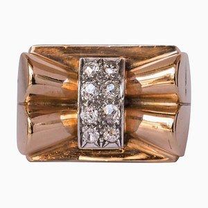 Französischer Diamant Gold Bow Tank Ring