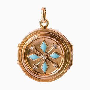 19th Century Turquoise and Rose Cut Diamond Round Locket Pendant