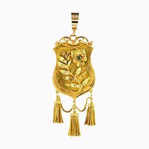 Lampada a sospensione con medaglione con decorazioni a forma di scudo color oro e XIX secolo