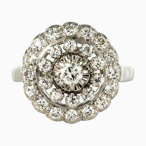 French 0.85 Carat Diamonds and 18 Karat White Gold Round Ring, 1960s