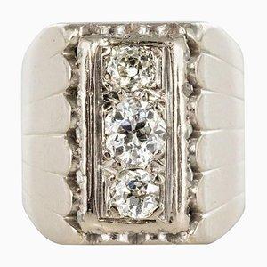 0.90 Carat Diamonds and 18 Karat White Gold Signet Ring, 1930s