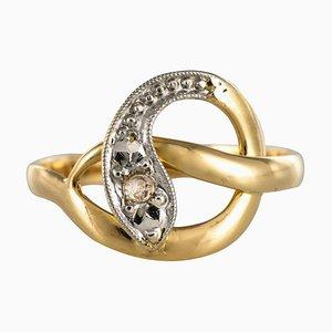 Französische Rosen-Diamanten im 19. Jahrhundert und 18 Karat Gelbgold Schlangenring