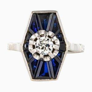 Französische Diamond Saphire und Platin Weißgold Ring, 1930er