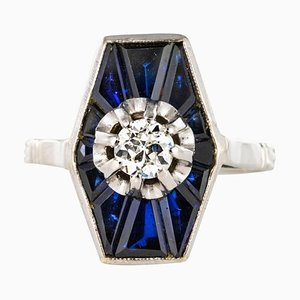 French Diamond Sapphires and Platinum White Gold Ring, 1930s