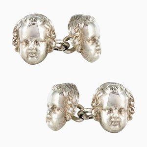 French 19th Century Sterling Silver Cherub Cufflinks, Set of 2